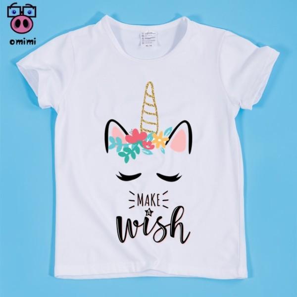 Unicorn Kawaii Design Print T Shirts For Girl,kid Cute Tops Tee
