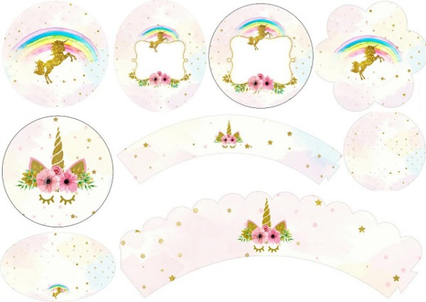 Unicorn Party  Free Printable Wrappers And Toppers For Cupcakes