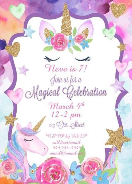 Unicorn Party Birthday Invitation Unicorn Birthday