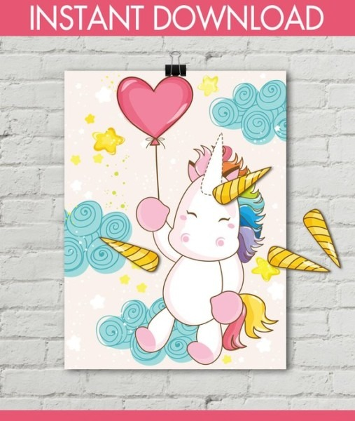 Unicorn Party Pin The Horn Unicorn Game 24x36