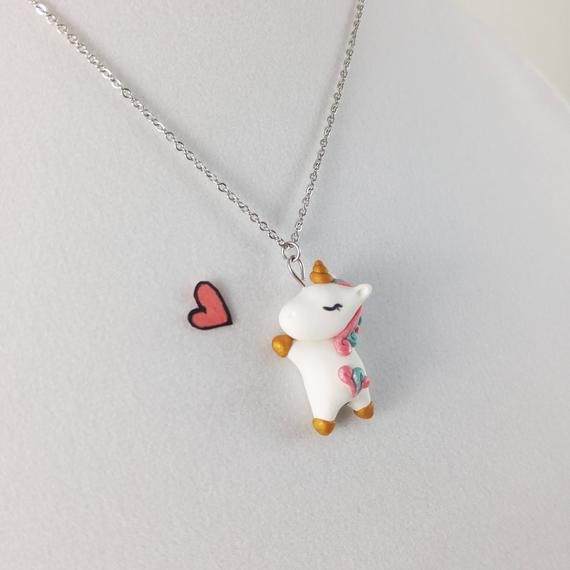 Unicorn Polymer Clay Necklace With Stainless Steel Chain