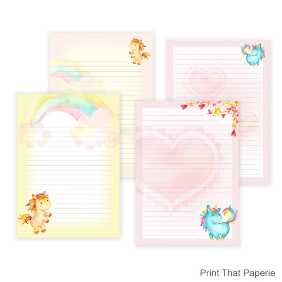 Unicorn Printable Writing Paper