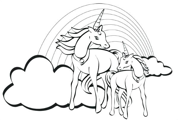 Unicorns And Rainbows Coloring Pages