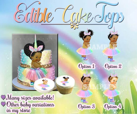 Unicorn Rainbow Vintage Baby Girl Princess Edible Birthday Cake