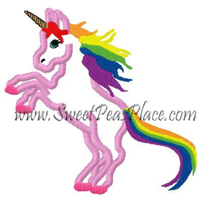 Unicorn, Unicorn With Rainbows Applique Embroidery Design, Sweet