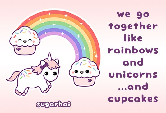Unicorn With Cupcake Rainbow T