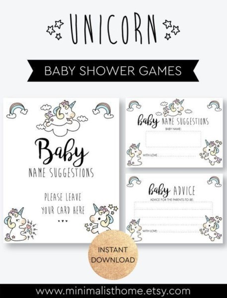 Unicorns Baby Shower Games Printable Baby Name Suggestion And