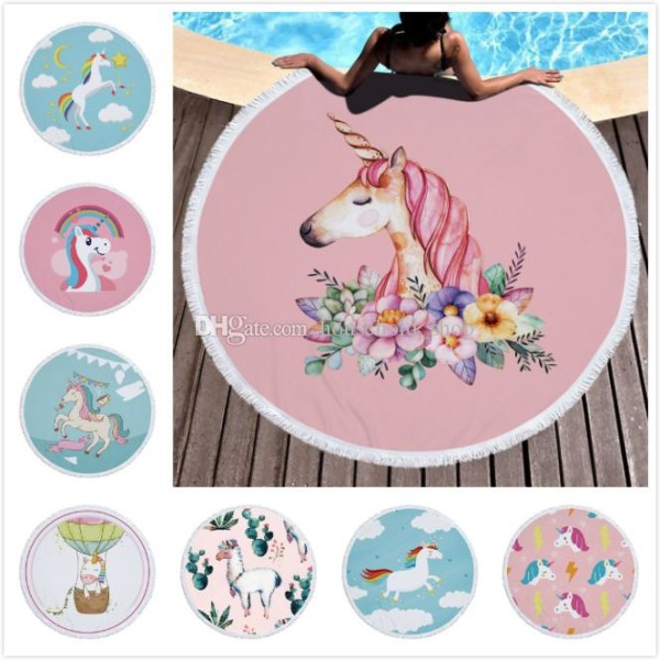 Unicorns Fantasy Luxury Beach Towel 150cm Alpaca Round Beach