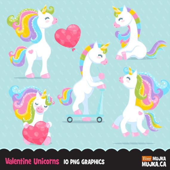 Valentine Unicorn Clipart  Valentine's Day Unicorn Graphics