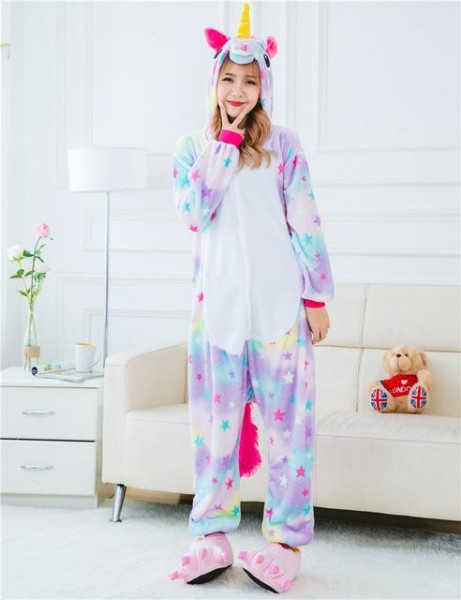 Vibrant Colorful Stars Adult Unicorn Onesie