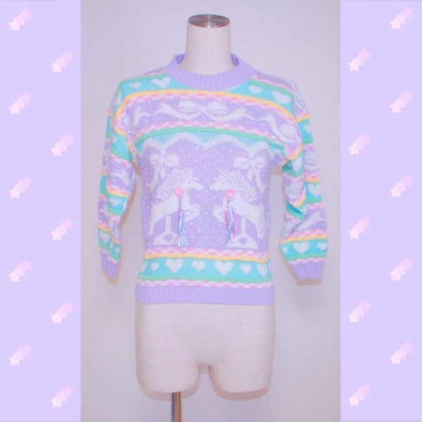 Vintage Fairy Kei Pastel Unicorn Sparkle Sweater