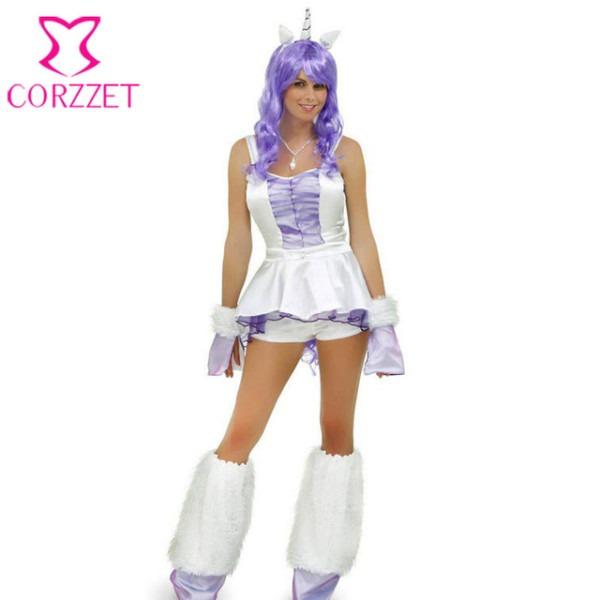 White Purple Adult Women Fantasy Unicorn Costume Cosplay Animal