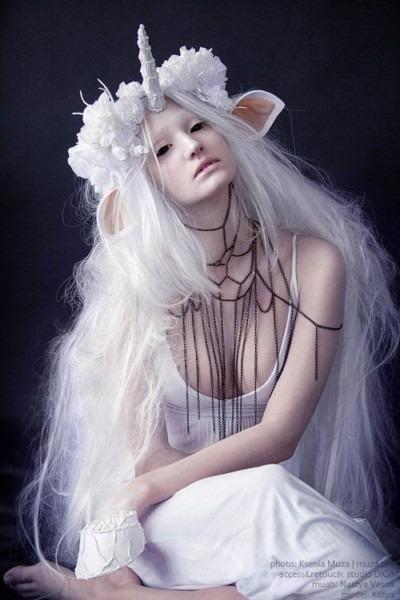 White Unicorn With Black Eyes