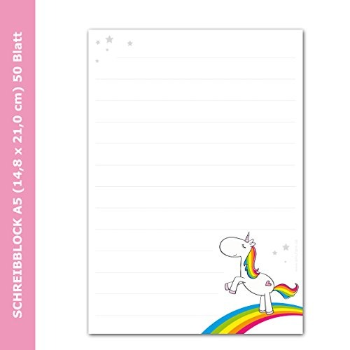 Writing Pad   Letter Pad  Rainbow Unicorn  Design Din A5 (lined 50