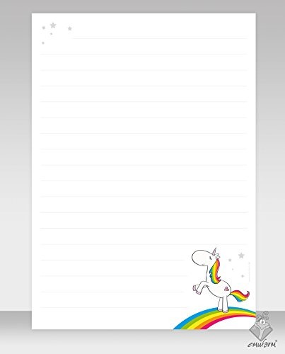 Writing Paper  Rainbow Unicorn – 50 Sheets Din A4 Lined For Girls
