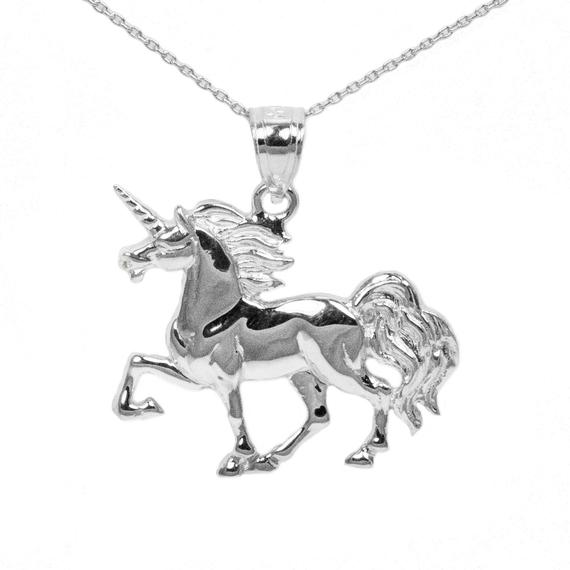 10k White Gold Unicorn Necklace