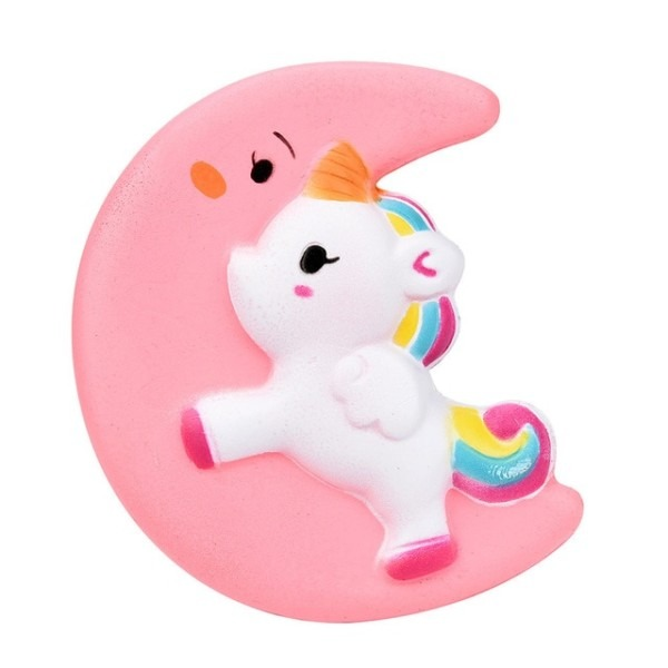 11cm Kawaii Moon Face Unicorn Horse Rainbow Squishy Slow Rising