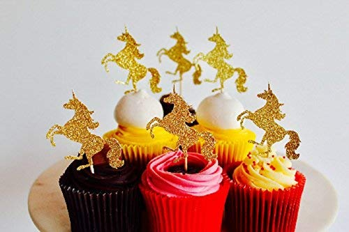 12 Unicorns Gold Glitter Card Cup Cake Toppers