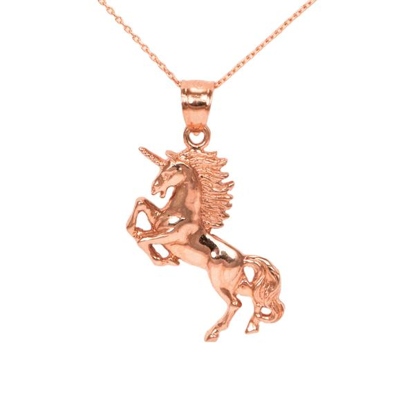 14k Rose Gold Unicorn Necklace