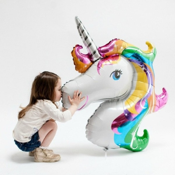 1pc Cartoon Rainbow Unicorn Big Size Aluminum Foil Balloons Little