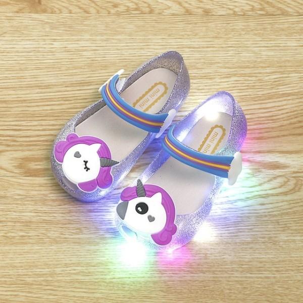 2018 Hot Sale Girls Unicorn Shoes Kids Jelly Sandals Led Light Up