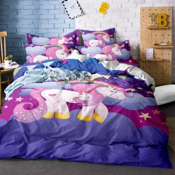 2018 Rainbow Unicorn Bedding Set Twin Full Queen King Size 3 4pcs