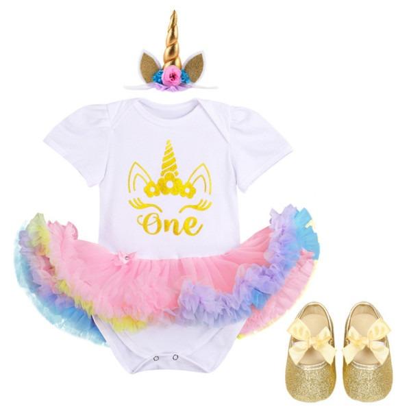 3pcs Set Newborn Baby Girls 1st Birthday Romper Dress Headband