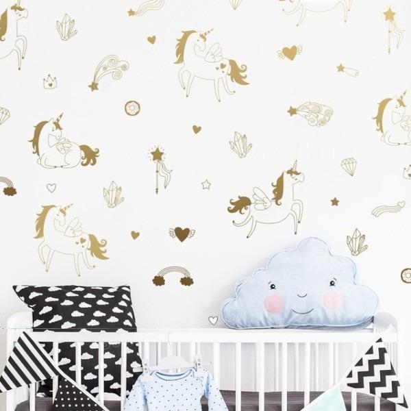 47 Pcs Magical Unicorn Wall Art Stickers Kids Bedroom Diy Vinyl