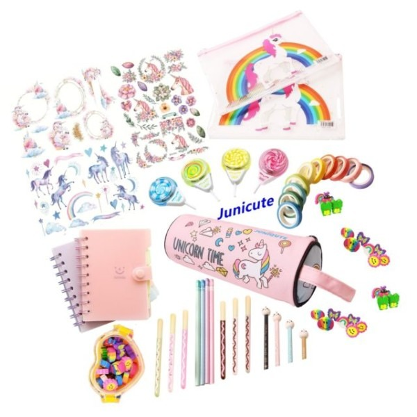 48pcs Assorted Unicorn School Supplies Pen Pencil Case Note