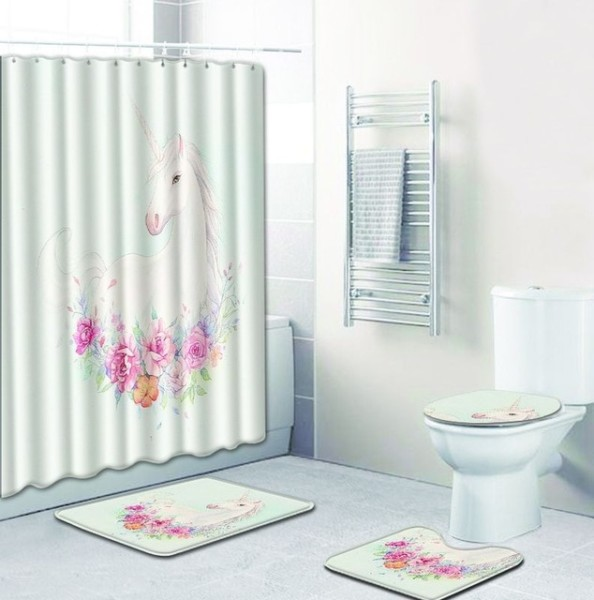 4pcs Set Cute Unicorn Bathroom Floor Anti Slip Shower Curtain Mats
