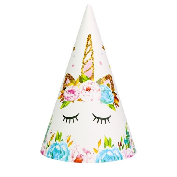 6pc Set Happy Birthday Hat Unicorn Party Paper Hat Girl Boy Kids