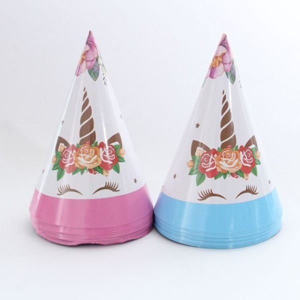 6pcs Unicorn Birthday Party Hats Kids Birthday Party Supplies