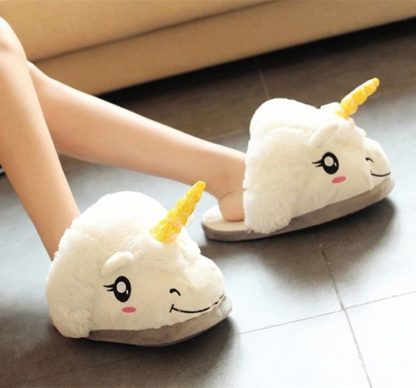 Adult Winter Warm Slipper White Unicorn Plush Indoor Shoes Cute