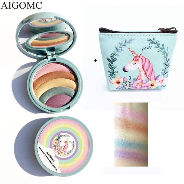 Aigomc Unicorn Glow Kit Highlighter 5 Colors Highlighter Palette