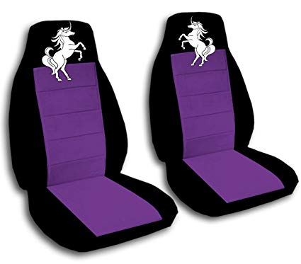 Amazon Com  2 Black And Purple Front Seat Covers With A Unicorn