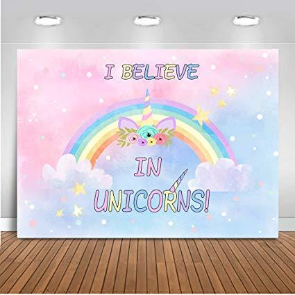 Amazon Com   Mehofoto Unicorn Backdrop Pink Rainbow Unicorn