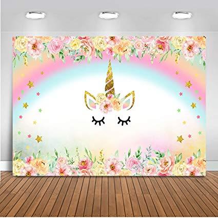 Amazon Com   Mehofoto Unicorn Themed Backdrop Rainbow Flower