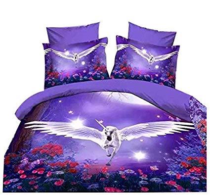 Amazon Com  Cliab Unicorn Bedding Set Purple Kids Full Size Duvet