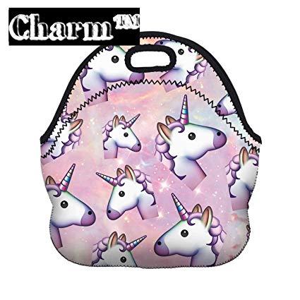 Amazon Com  Emoji Zipper Unicorn Lunch Bag Tote 10 4  X 11 4  X