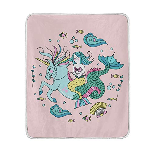 Amazon Com  Funny Unicorn Mermaid Tail Throw Blanket For Couch Bed
