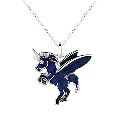 Amazon Com  Luomart Fairy Tale Unicorn Mood Necklace White Gold