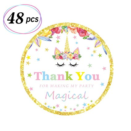 Amazon Com  Magical Unicorn Stickers Unicorn Themed Thank You Tags