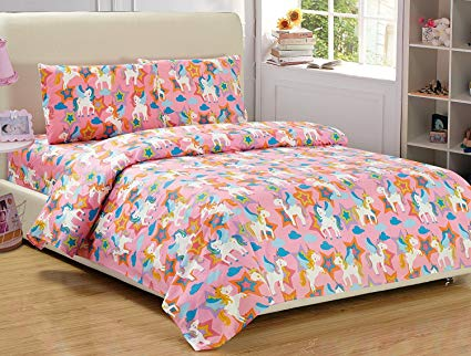 Amazon Com  Mk Home Mk Collection 4 Pieces Full Size Unicorn Pink