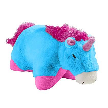 Amazon Com  Pillow Pet Neonz Neon Blue And Pink Unicorn 18  Toys