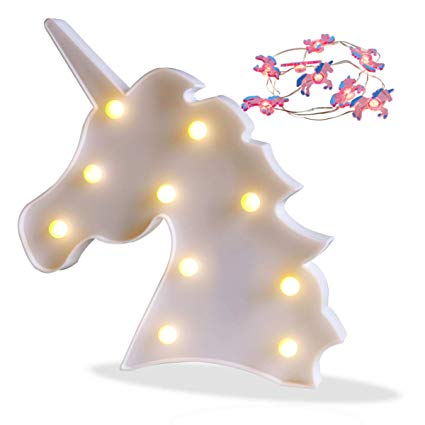 Amazon Com  Pooqla Unicorn Marquee Battery Light With 10 Warm