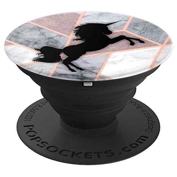 Amazon Com  Pop Socket Unicorn Black Rose Gold Grey Geometric