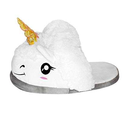 Amazon Com  Thinkgeek Plush Unicorn Slippers, One Size, White