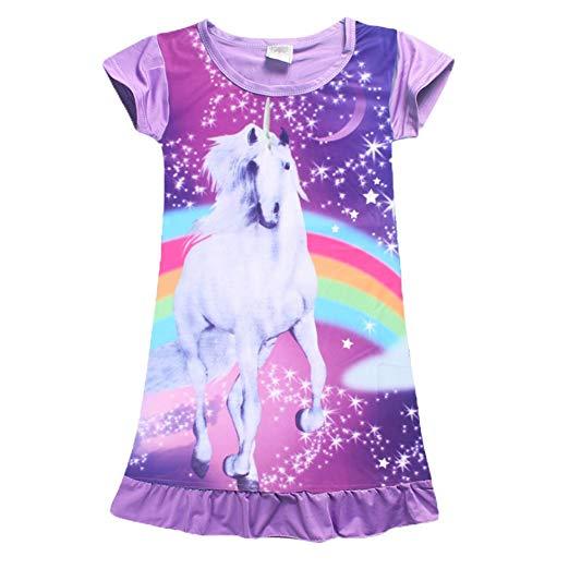 Amazon Com  Yijodm Comfy Girls Unicorn Printed Rainbow Princess