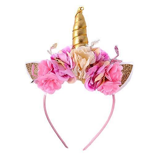 Amazon Com  Ztl Girls Unicorn Headband Flower Veil Hairband