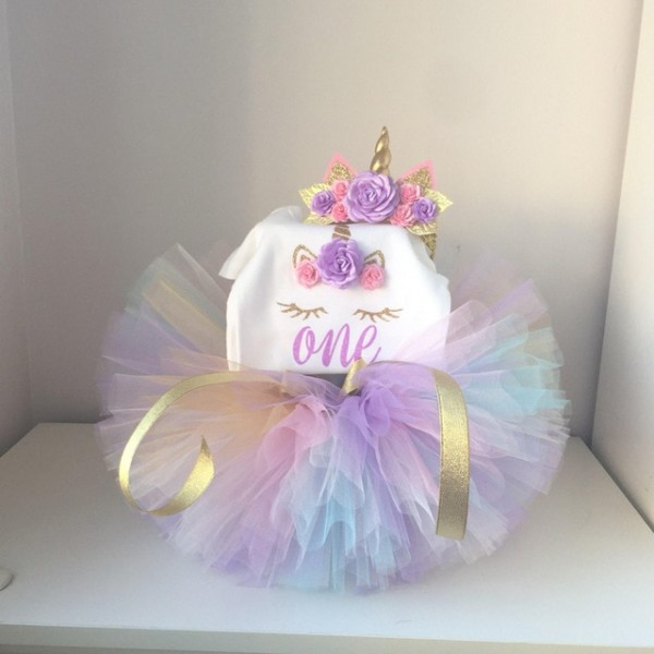 Baby 1 Year Birthday Dress For Baby Girl 1st Unicorn Party Outfits